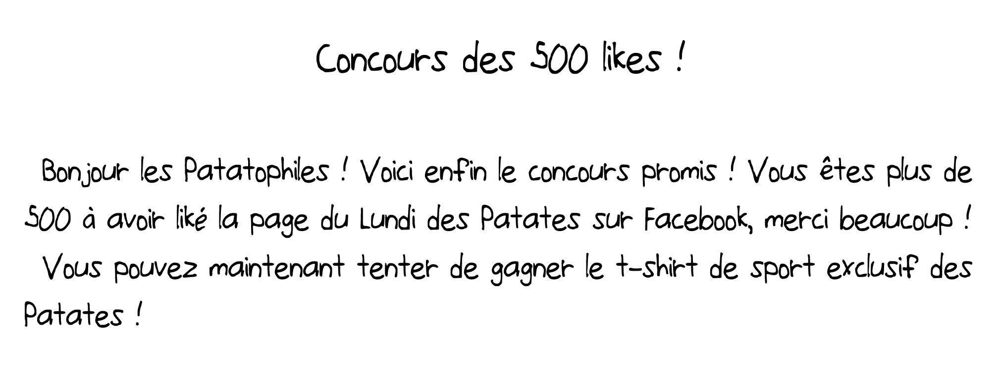 Concours des 500 likes texte 1